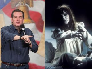 Hecklers attempt to 'exorcise' Ted Cruz