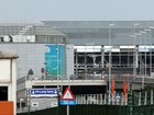 Brussels Airport departure lounge partially open