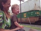 Toddler realizes dad is driving passing train