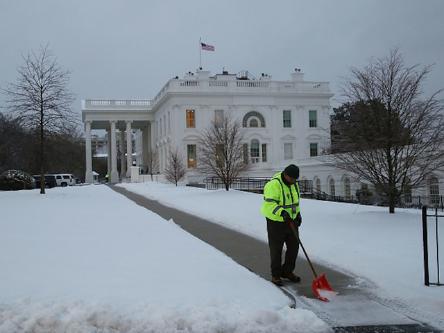 President Trump reports 14 feet of snow at the White House,