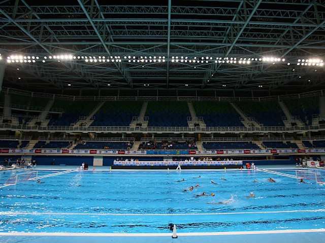 rio de janeiro brazil april 28 general view of the olympic aquatics stadium during the international water polo tournament aquece rio test event for - Olympic Swimming Pool 2016